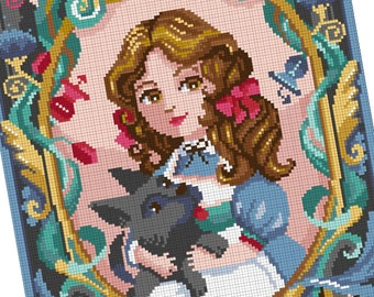 Counted stitch pattern -The Wizard of Oz- Dorothy and Toto-  L. Frank Baum - PDF Instant download