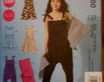 McCall's M6550 Girl's Dress Jumpsuit and Wrap Sewing Pattern New/Uncut Size 7,8,10,12,14