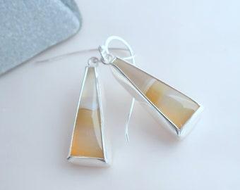 Banded agate cabochon handmade designer sterling silver hook earrings