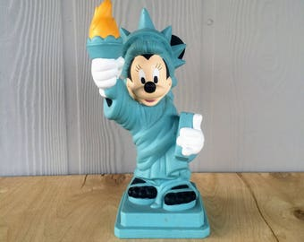 Vintage Mickey Mouse Statue of Liberty Piggy Bank Disney Coin Bank