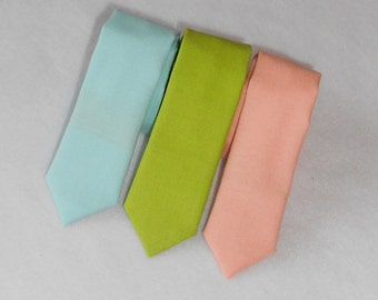 Aqua, Lime, or Peach Tie- Skinny or Standard Width - Infant, Toddler, 2 weeks before shipment