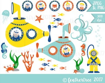 Submarine Clip Art - Under the Sea - Yellow Submarine, Octopus, Deep Sea Diver etc - 300 dpi - Jpeg and Png files - INSTANT DOWNLOAD