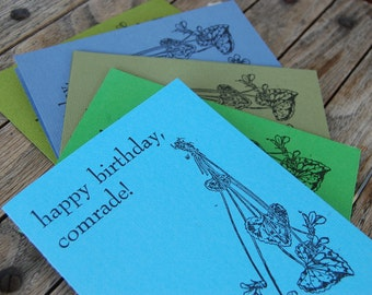 Happy Birthday Comrade - Letterpress Birthday Card - Assorted Colors with Black Envelope