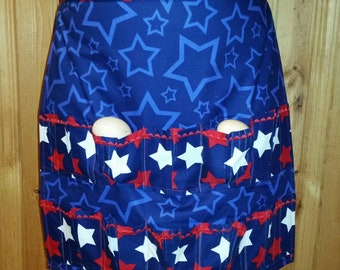 Egg Gathering Apron - Red, White & Blue Americana with Stars