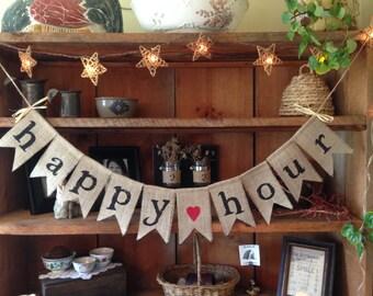 Happy Hour Bunting, Burlap Bunting, Wedding Bunting, Wedding Banner, Wedding Photo Prop, Bridal Shower, Country Wedding, Wedding Decor