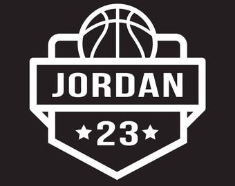 Custom Basketball Decal, Personalized Basketball Name and Number Decal, Basketball Car Decal, Basketball Auto Decal, Basketball Sticker