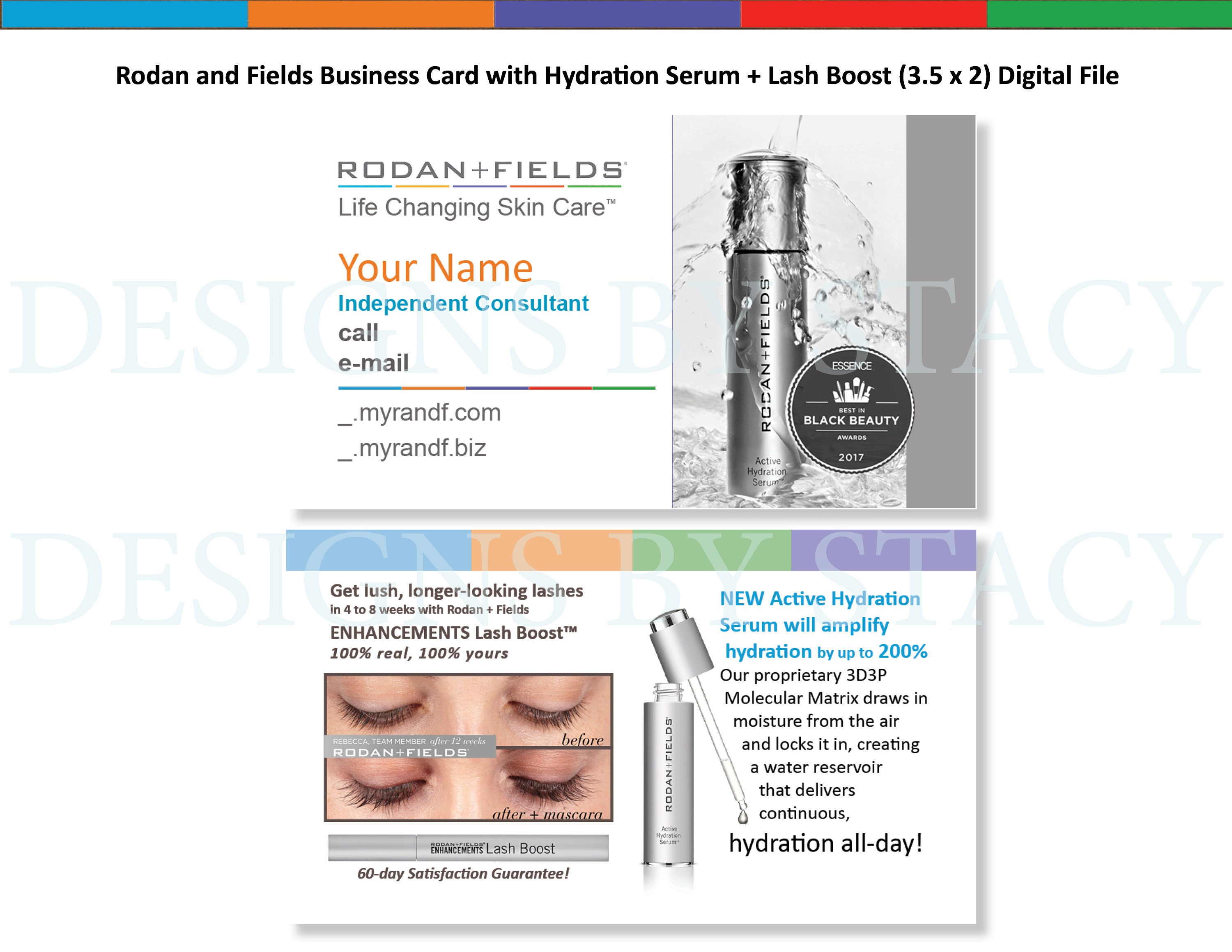 Rodan and Fields Business Card with Hydration Serum Lash