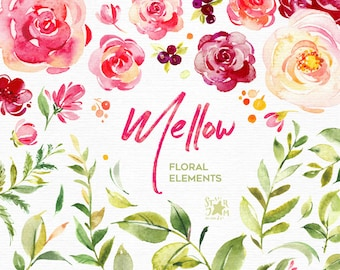 Mellow. 46 Separate Floral Elements. Watercolor flowers clipart, floral, summer, burgundy, marsala, leaf, purple, greeting, ruby, fresh