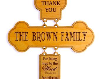 Personalized Gift for Christian Family Friends, Custom Family Cross Gift, New Home-Housewarming Gift, Last Name Gift for Family