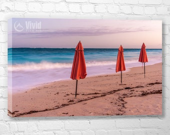 Canvas panels, peaceful wall art, beach art, Grace bay, Turk and Caico, wall decor for den, pink and blue, ocean artwork, 12x20 48 inch