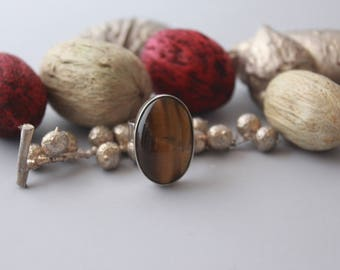 Tiger's eye (One size for all) Ring set in Sterling silver