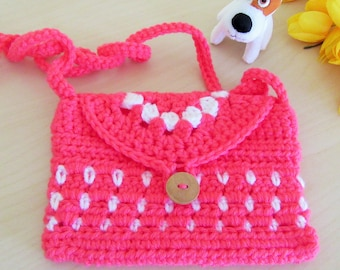 Crochet Purse, Little Girl Purse, Girls Bag, Gift for Girl, Doll Accessory, Kid's Gift, Kids's Purse, Crochet Girl Purse, Pink Purse