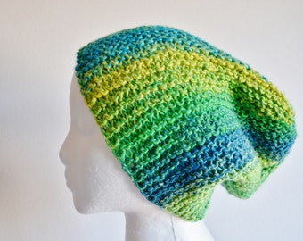 Green & Yellow Fellow - Hand Knit Garter Stitch Hat. Green, Blue, Yellow, Textured, Size Large/XL for your giant brain. Vegan Friendly.
