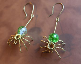 Handmade spider brass wire earrings with green beads steampunk gothic fantasy
