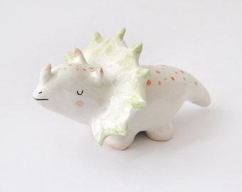 Triceratops Figure, Triceratops Figurine; Ceramic Dinosaur, with Orange and Green Polka Dots; Jurassic Clay Collection. Made To Order