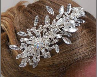 Bridal tiara, crystal and diamanté wedding headpiece, bride, prom headband, side tiara, pageant, bridal accessory, hair piece, Jacqui Vale