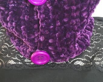 Cowl, snood, Eggplant chenille yarn, hand crocheted scarf
