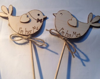 Wedding Cake Topper  I'm her Mr I'm his Mrs Rustic Wedding Boho Cake Topper