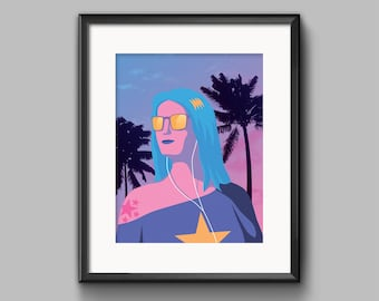 Vaporwave Girl Art Print - vaporwave, synthwave, outrun, beach, palm tree, 80s, retro, portrait,  girl, blue hair, sunglasses, aesthetic