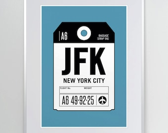 New York City, NY. JFK Airport. Luggage Tag Art. Airport Code Poster. New York Print. Aviation Wall Decor. A3. 11x14.