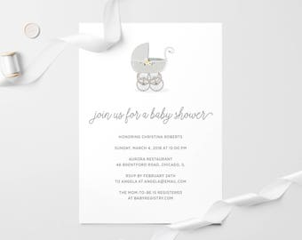 Stroller Baby Shower Invitation | Printable