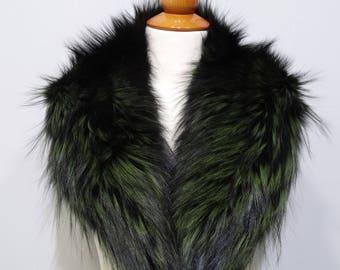 Real Fox Fur Black - Yellow Collar F782