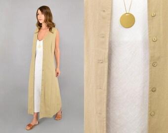 90's Minimalist Button-Up Duster Dress