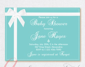 Babyshower invitation.  Printable  Party invitation. White bow invite. Turquoise invite. Teal Birthday invite.