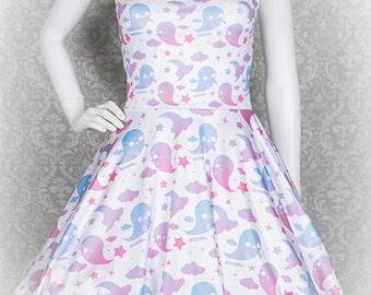 Graveyard Ghosts Printed Skater Dress  Fairy Kei Pastel Goth Kawaii