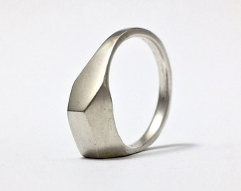 Geometric Industrial Ring - Rectangular Wedge Ring.  Sterling silver.  Handmade