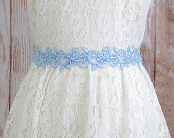 Light Blue Pearl Beaded Flower Lace Sash, Bridal Sash, Bridesmaid Sash,Flower Girl Sash,Light Blue Lace Sash Belt