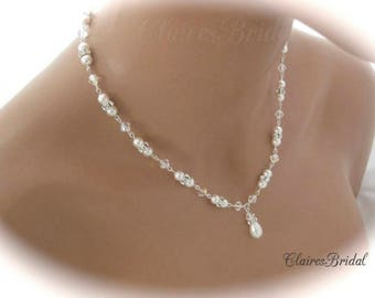 Swarovski Crystal Necklace Wedding Jewelry Pearl Bridal Jewelry