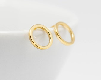 Earrings Gold Plated Circle shiny