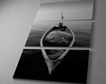 Canoe with a Heron by Moises Levy Gallery Wrapped Canvas Triptych Print