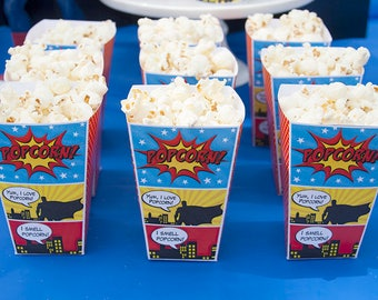 Superhero Birthday, Superhero Popcorn Boxes Mini 1-Cup Size, Superhero Birthday Decorations, Printable PDF File, Instant Download