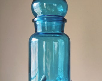 Blue Apothecary Jar with Bubble Lid, Made in Belgium