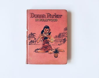 DONNA PARKER In HOLLYWOOD by Marcia Martin Illustrated 1950 50's Pinu Up Romance Holiday Tropical Islands Whitman Publishing Atomic Age Girl