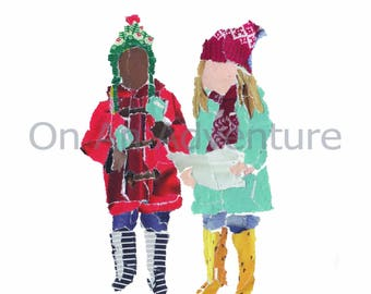 Pack of 4 Christmas Cards 'Bobble hats and Antlers'