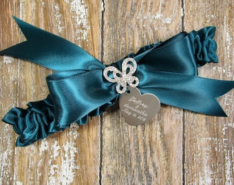 Butterfly Wedding Garter in Teal with a Rhinestone Butterfly and Engraving