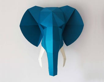 Elephant 3D papercraft, pdf papercraft pattern, low poly, boho decor, digital download, Faux taxidermy, elephant decor, housewarming gift