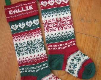 A Personalized Christmas Stocking, woven hearts, red or green cuff color