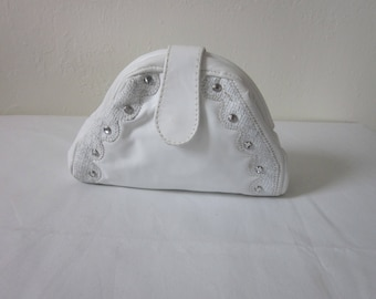 "1980s Small White Leather Bag by ""Ruth's Handbags, Philadelphia"""