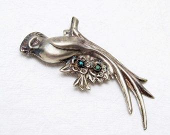 Mexican Silver Brooch Huge Bird Brooch Vintage Jewelry