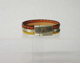 orange and yellow leather bracelet