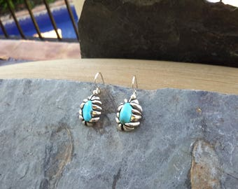 No.136 Castle Dome Turquoise Dangle Earrings set in .950 Sterling Silver