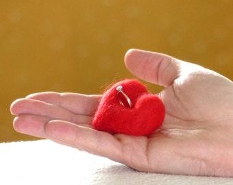 Needle Felted Ring Cushion, Engagement Ring Holder, Red Heart Ring Cushion, Engagement Gift