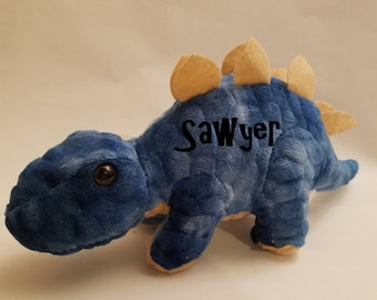 Stegosaurus, Green, Blue, Stuffed Animal, Personalized