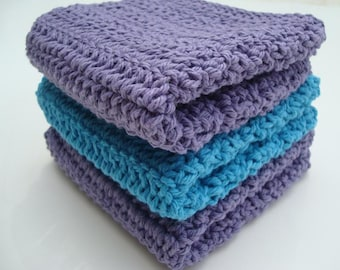 Three Cotton Washcloths - Turquoise Blue and Purple Dishcloths - Set of Three Crochet, Crocheted Dish cloth, wash cloth - Ready To Ship