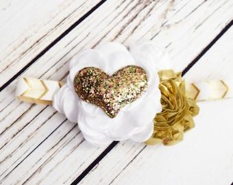Handcrafted Ivory White and Gold Heart Headband - Vintage Style Hair Accessory - Fancy Headband - Glitter Headband - Gold Christmas Headband