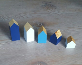 Happy Little Neighborhood - Shades of Blue Sides - Wood Block Houses - Natural Wood - Montessori, Waldorf, Homeschool - Wood Houses